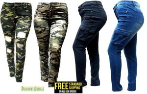 0bf9da3e3b7 Image is loading WOMENS-PLUS-SIZE-Distressed-Camouflage-Skinny-Blue-Black-