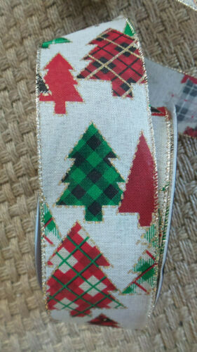 """Ribbon Merry Xmas Plaid Trees wired edge Gold Trim Burlap Look 2.5/"""" Wide 5 Yds"""