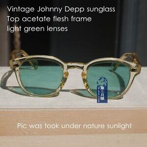 Vintage sunglasses artists love mens Johnny Depp acetate yellow frame brown lens