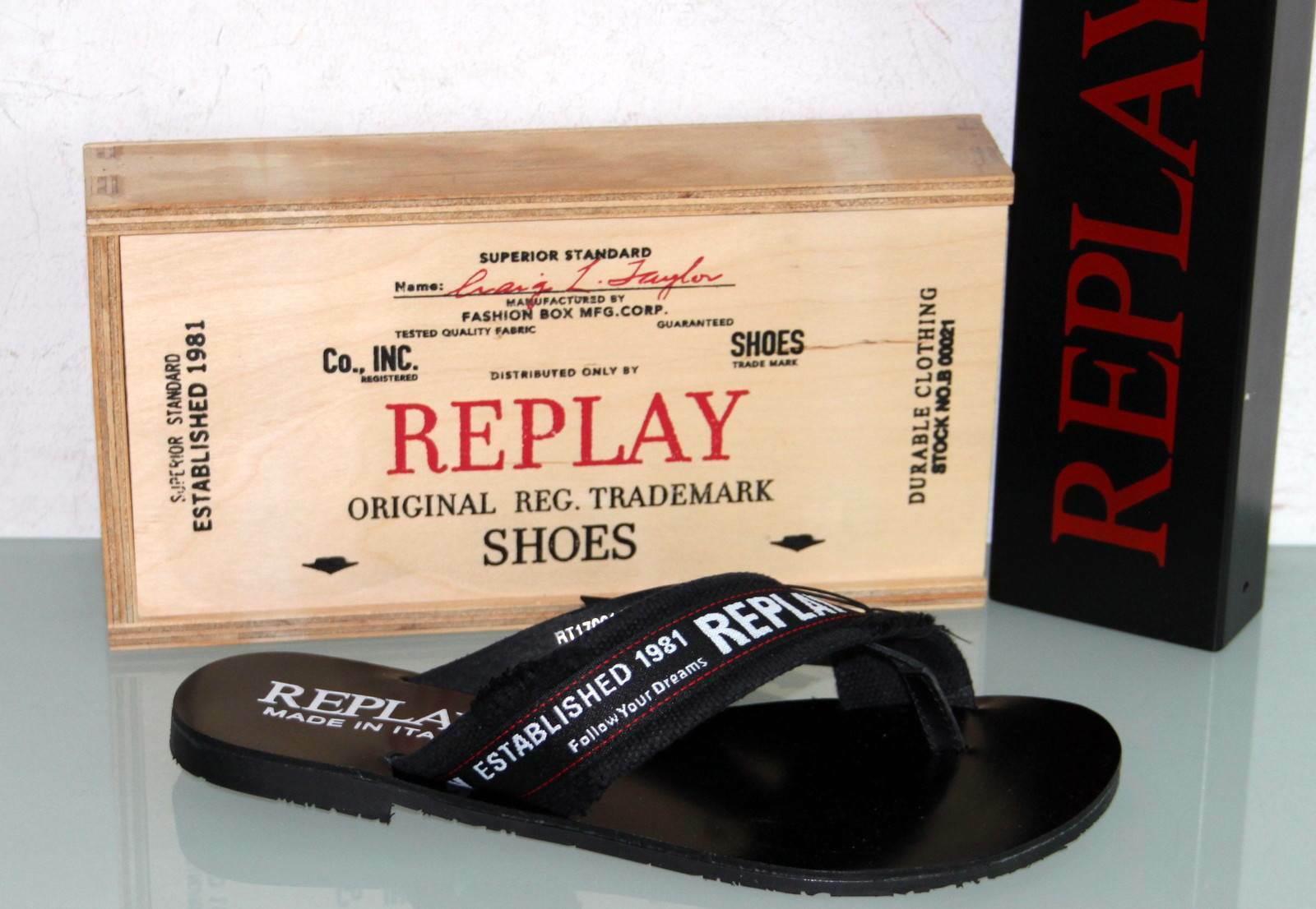 REPLAY Canvas Leder Sandale Zehentrenner - SCUBA - Made in  - Neu&Original