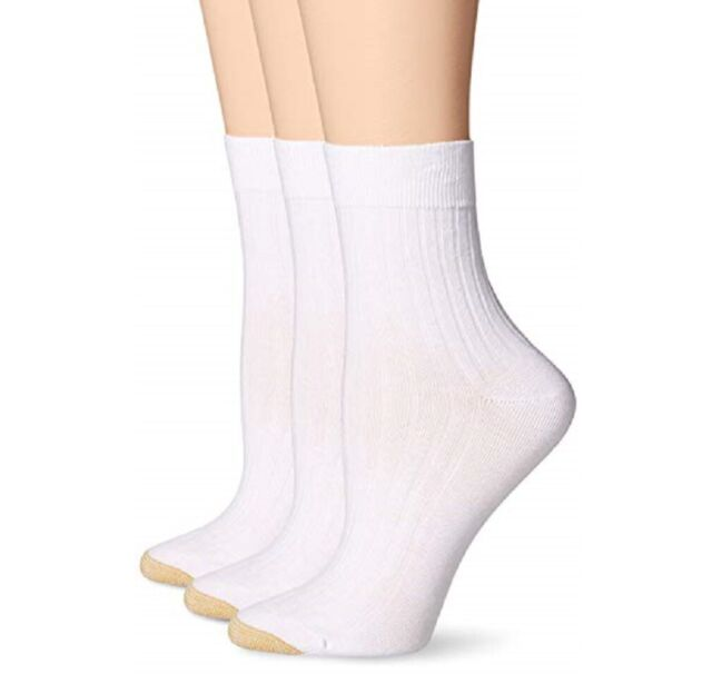 Gold Toe Womens 3pk Non Binding Short Crew Socks For Sale