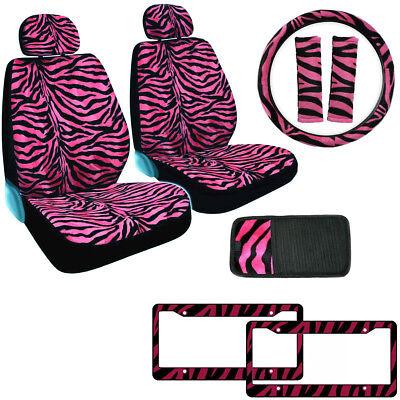 Zebra Light Pink Print Soft Plush Seat Belt Pads Strap Cover One Pair