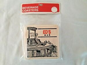 Vintage-Beverage-Bar-Coasters-Ed-039-s-Private-Bar-Set-of-6