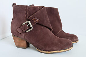 M&S Indigo Collection Brown Suede Stain Resistance Buckle Boots with Insolia