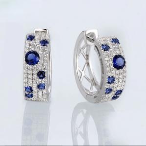 2Ct-Round-Cut-Blue-Sapphire-amp-Diamond-Huggie-Hoop-Earrings-18K-White-Gold-Finish