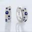 2Ct-Round-Cut-Blue-Sapphire-amp-Diamond-Huggie-Hoop-Earrings-18K-White-Gold-Finish thumbnail 1