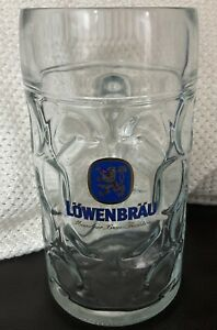 Lowenbrau-Beer-Glass-Stein-Mug-1L-Dimpled-Austria