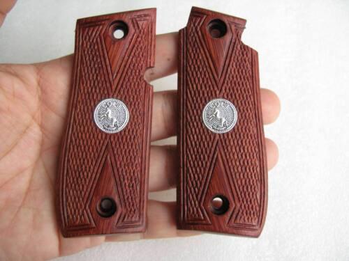 New Hardwood Grip For Colt Government 380 Diamond Checkered Medallion Free Ship