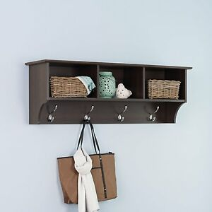 Image Is Loading Coat Rack Wall Mounted With Shelf Entryway Hooks