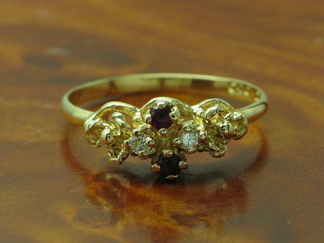 14kt 585 gold RING MIT BRILLANT & RUBIN BESATZ   BRILLANTRING RUBINRING