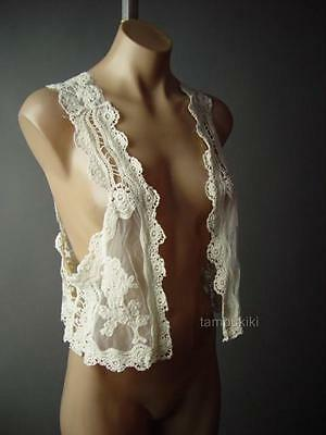 20s 30s Ivory Antique Style Crochet Lace Boudoir Cropped Open Front 108 mv Vest