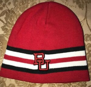 mens BU red knit WINTER HAT black white stripes by COLOSSEUM ONE ... 290cd300b21