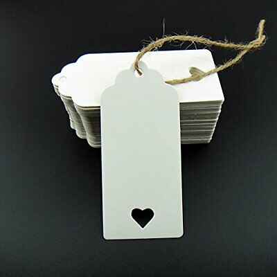 100pcs Paper Blank Card Gift Tags Heart Label Wedding Favor DIY Craft White