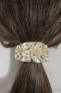 Women-Gold-Metal-Ponytail-Holder-Silver-Bling-Fancy-Fashion-Hair-Jewelry-Dressy