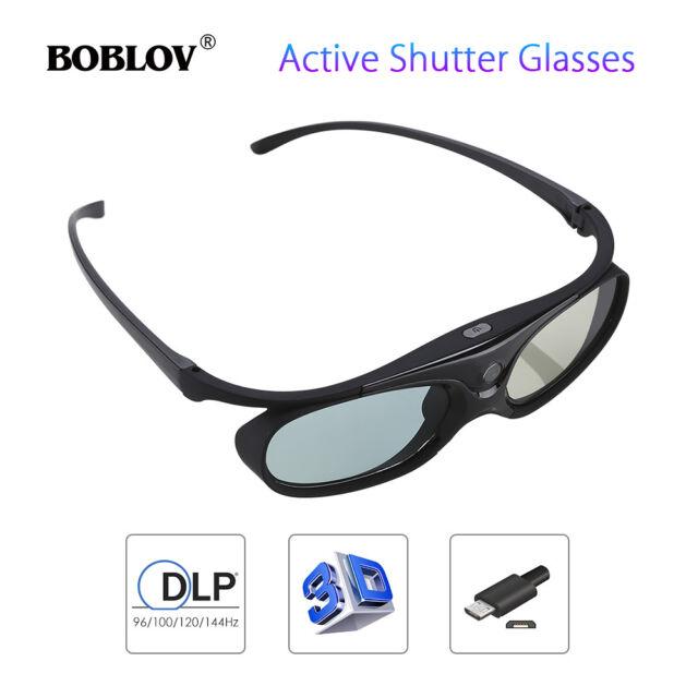 3D Active Shutter Glasses DLP-Link 96/144Hz Theater Black For Optoma BenQ Acer