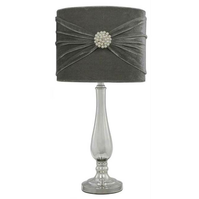 Glass & Chrome Table Lamp with Textured Silver Grey Velvet And Pearls Shade