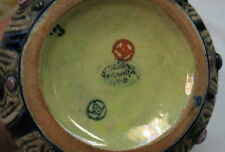 "marked art pottery bowl ""CZECH""  ""amphora"" enameled RARE OLD MAJOLICA & JEWELS"
