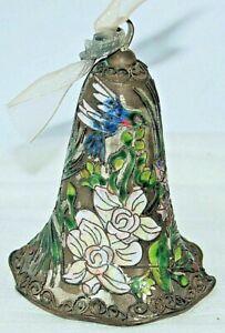 Silver Vintage Cloisonne Flower Hanging Bell Ornament