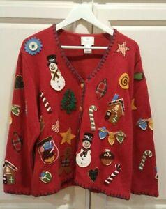 Vtg-Susan-Bristol-Appliqued-Red-Christmas-Cardigan-Sweater-SZ-XL