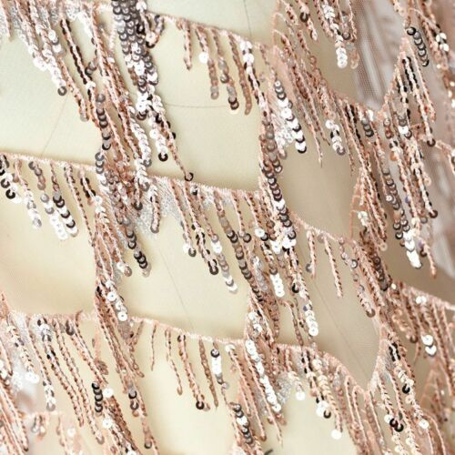 Beaded Tassels Gown Lace Fabric Embroidered Wedding Dress DIY Bling Tulle 0.5 M