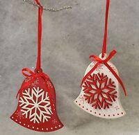 Wooden Bell Decorations Christmas Nordic Red White Gisela Graham Scandinavian