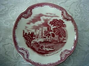 Collectible-Red-Pink-Kenilworth-Castle-Scenic-Plate-Made-in-England