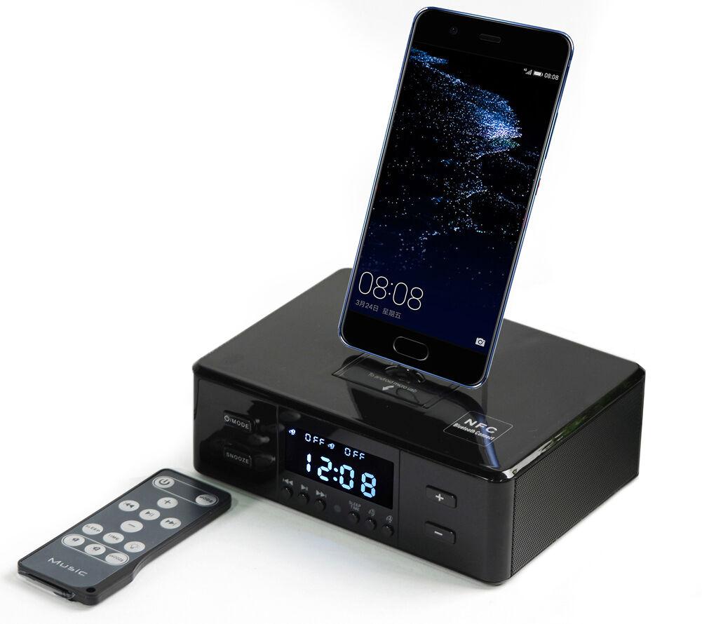 Digital NFC Bluetooth Speaker Dual Alarm Clock FM Charging Dock Station + Remote