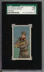 Rare 1909-11 T206 George Brown Sweet Caporal 350 Washington SGC 1