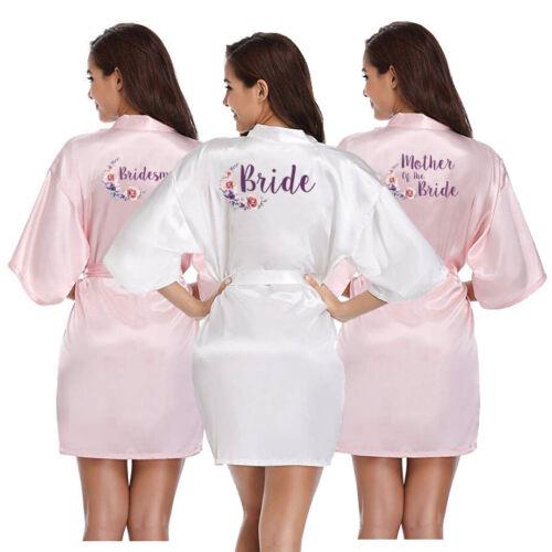 Satin Wedding Bridal Floral Party Robe Bridesmaid Bride Maid Of Honor Mother