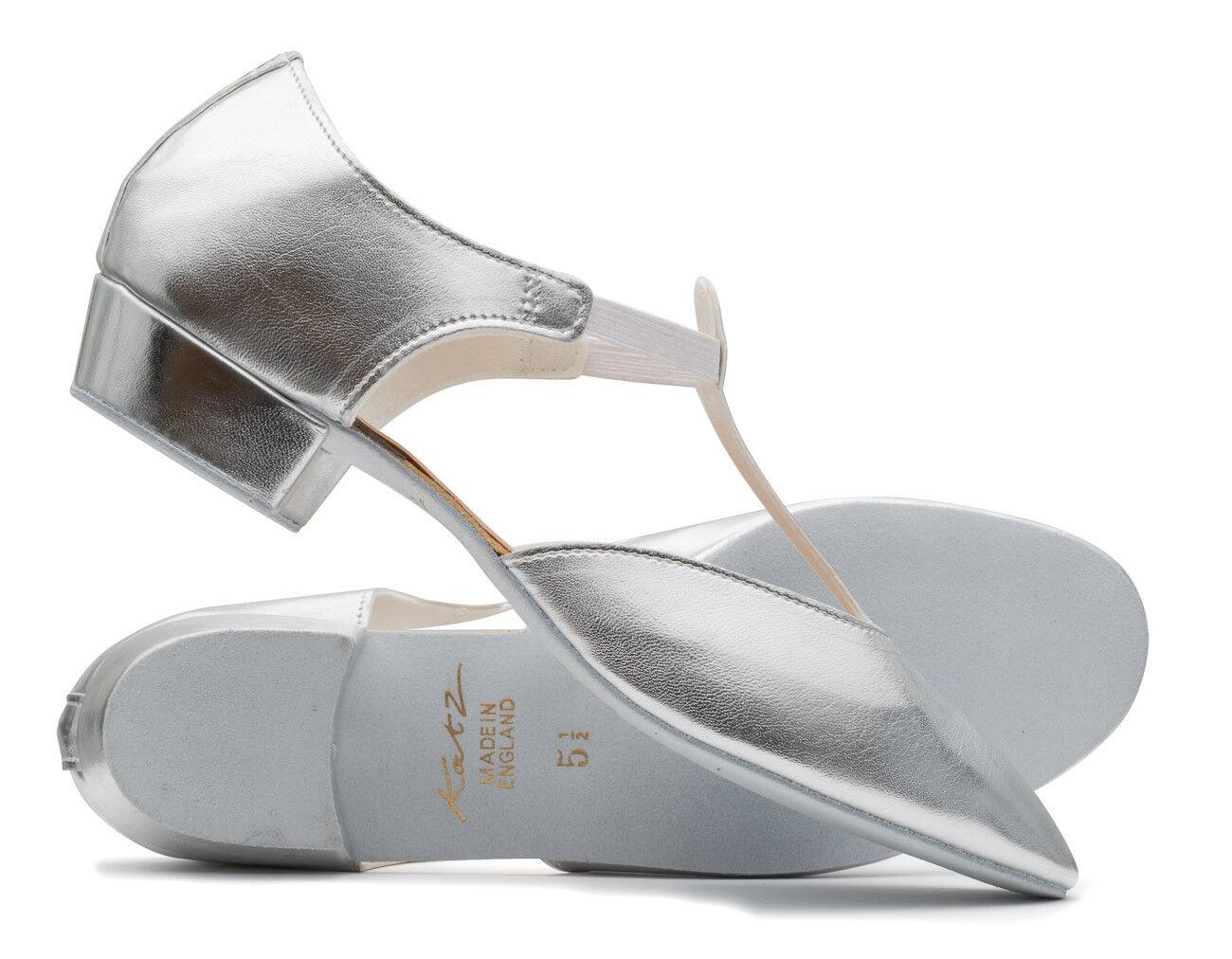 Ladies Girls Silver Metallic PU Dance Greek Sandal Teaching Ballroom Shoe Katz