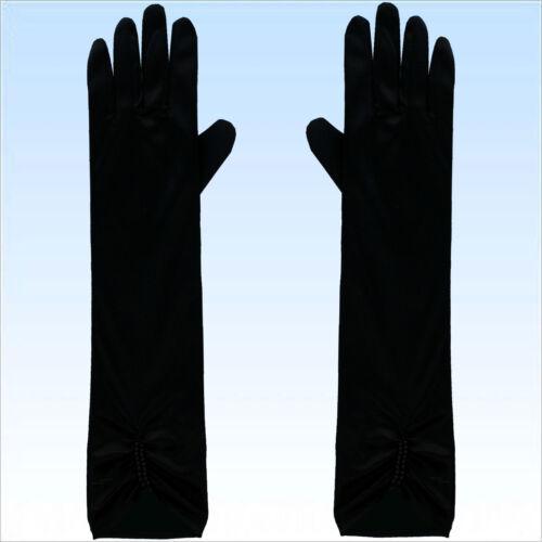 Ellenbogen Handschuhe Satin Rot Schwarz o Weiß Fingerhandschuhe Abendgarderobe