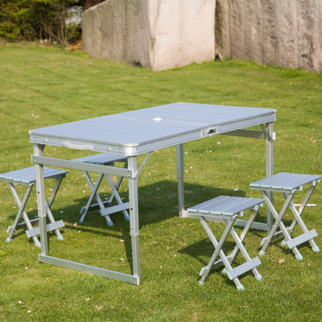 46 X 27 Portable Folding Table And 4 Stools Set Camp Picnic Suitcase Outdoor