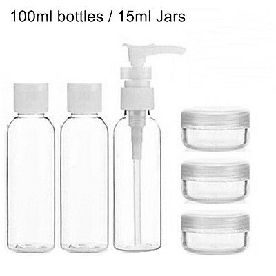 6 pc Toiletry Travel Bath Set Clear Bottle Air Port Flight Holiday BAA Security