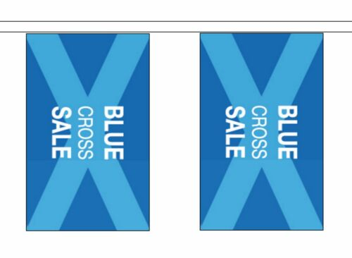 Blue Cross Sale Sign Advertising POS Polyester Flag Bunting 5m with 14 Flags