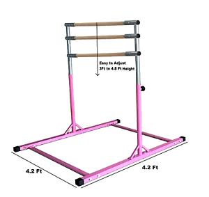 5Ft-Athletic-Horizontal-Bar-Teens-300Lb-Capacity-Gymnastics-Kids-Kip-Bars-PINK