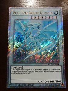 """Gold Secret Rare """"GHOST"""" Blue-Eyes White Dragon MVP1-ENGV4 - Altered Art - NM"""