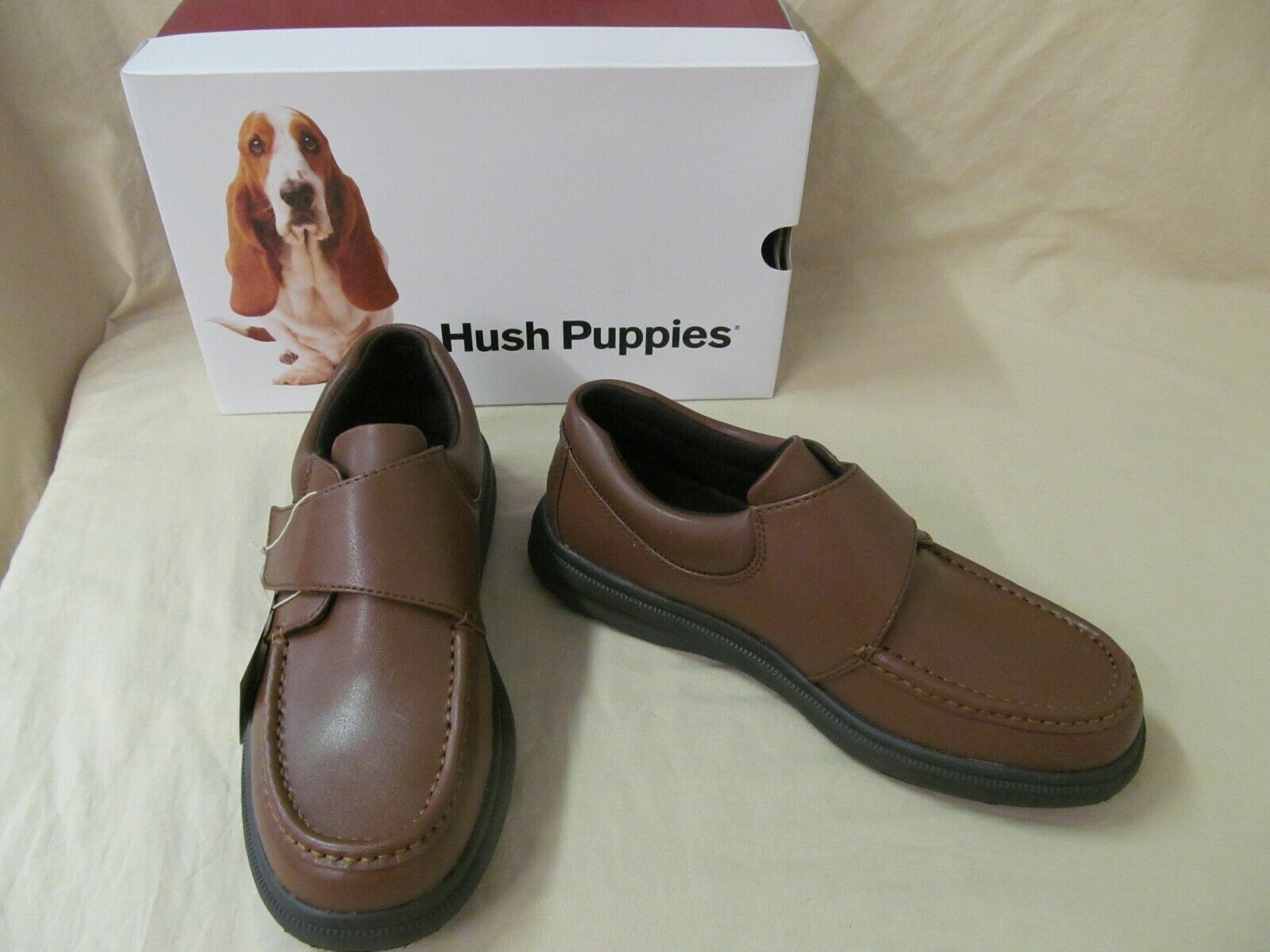 Men's 11 M Hush Puppies Gil Hook and Loop Closure Slip On Tan Leather Loafer