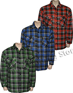 Mens Padded Quilted Lumberjack Check Flannel Work Shirt Jacket