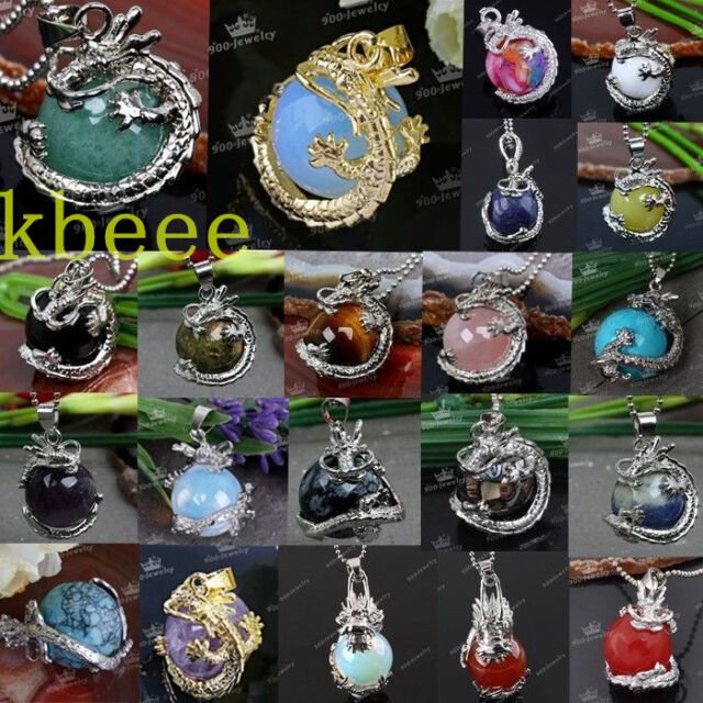 Gemstone Gem Dragon Wrap Inlaid Pendant Bead For Necklace Punk Jewelry Xmas Gift
