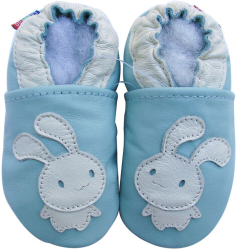 carozoo bunny light blue 5-6y soft sole leather kid shoes