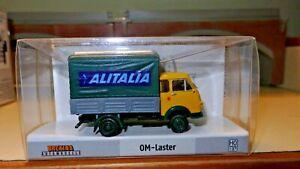 Brekina-OM-Lupetto-giallo-GRIGIO-telone-verde-ALITALIA-HO-1-87-Edizione-Limitata