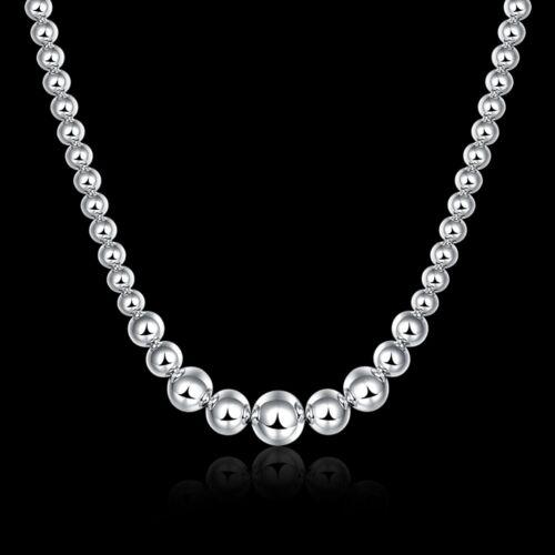 Fashion 925 Sterling Argent Massif Bijoux Perles Collier Pour Femmes Hommes N195