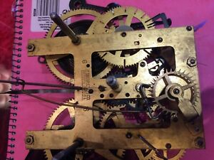 ANTIQUE BRASS WALL CLOCK MOVEMENT - E INGRAHAM  AMERICAN  REPAIRS PENDULUM HANDS