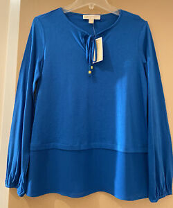 NWT Michael Kors Long Sleeve Top Radiant Blue Blouse Sz S Key Hole Front w/Tie