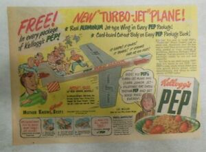 """Kellogg's Cereal Ad: New """"Turbo-Jet"""" Plane Premium From 1954 Size: 7 x 10 inches"""