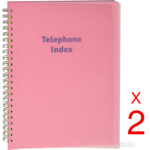 2-X-PHONE-BOOK-EXECUTIVE-ADDRESS-PAD-CONTACT-DATA-NOTE-TELEPHONE-DIARY-COLOURED