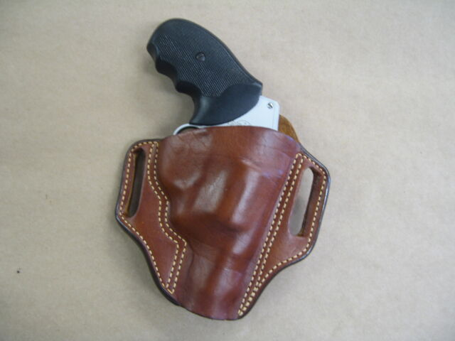 Taurus 905 9mm Revolver Leather 2 Slot Molded Pancake Belt Holster CCW Tan  RH
