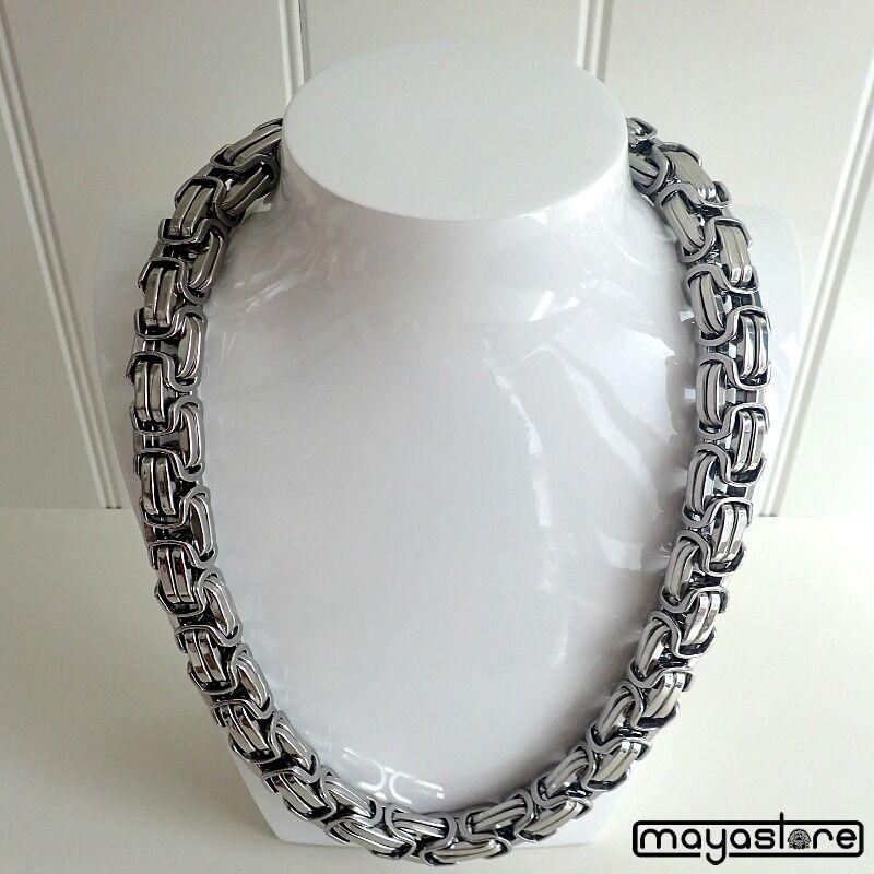 85CM X 14MM Byzantine Collier Chaîne Massive Acier Inoxydable silver
