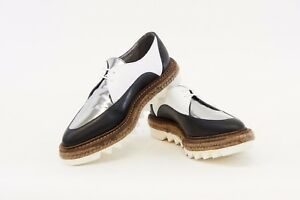 NWOB-1425-Brunello-Cucinelli-3-Tone-Leather-Cleated-Espadrille-Derbys-37-7-A176
