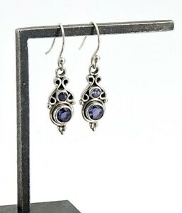 Vintage-Sterling-Silver-amp-Tanzanite-Petite-Decorative-Dangling-Wire-Earrings